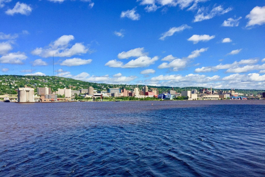 A view across Lake Superior to Duluth, MN