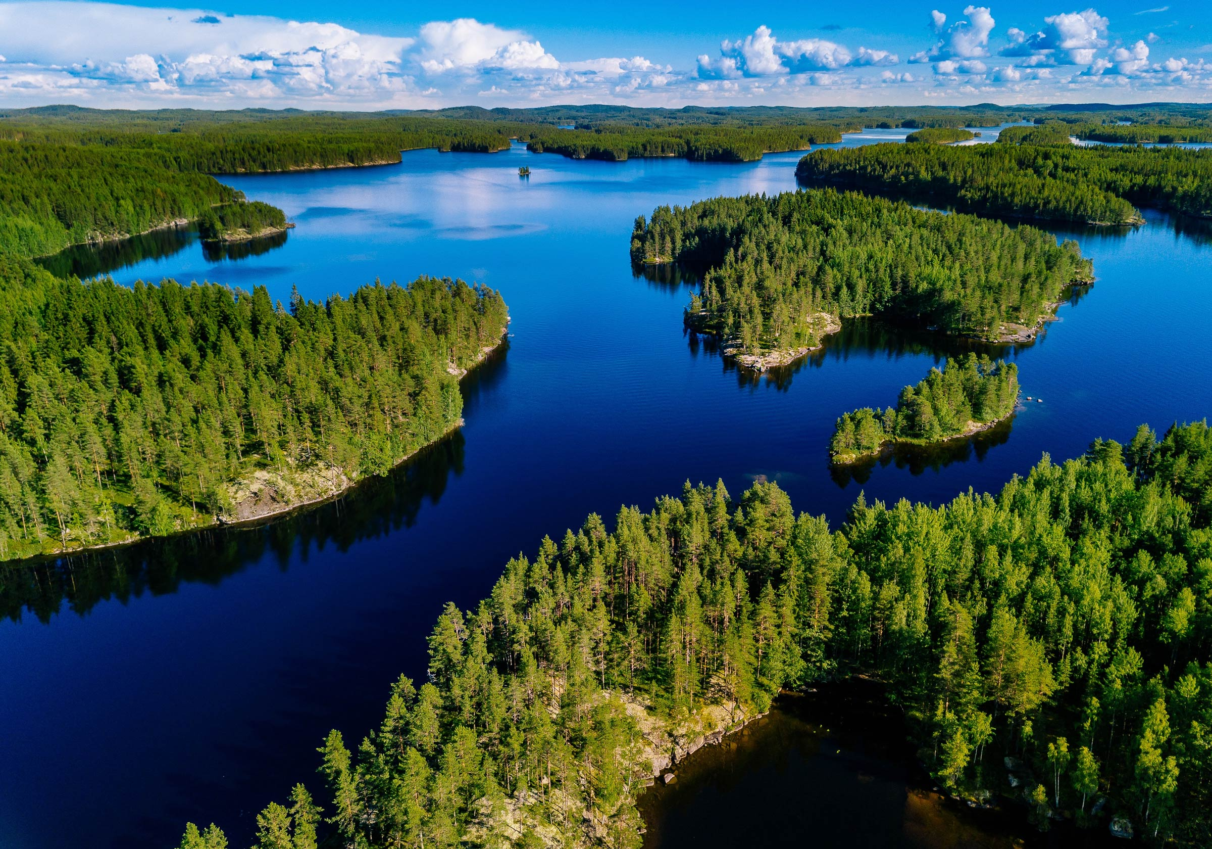 An aerial view of lakes in the south of Finland