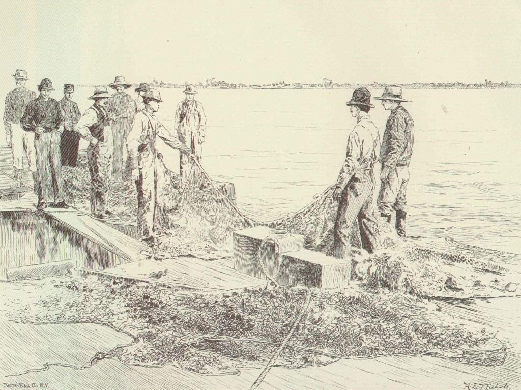 fishermen holding a commercial fishing net