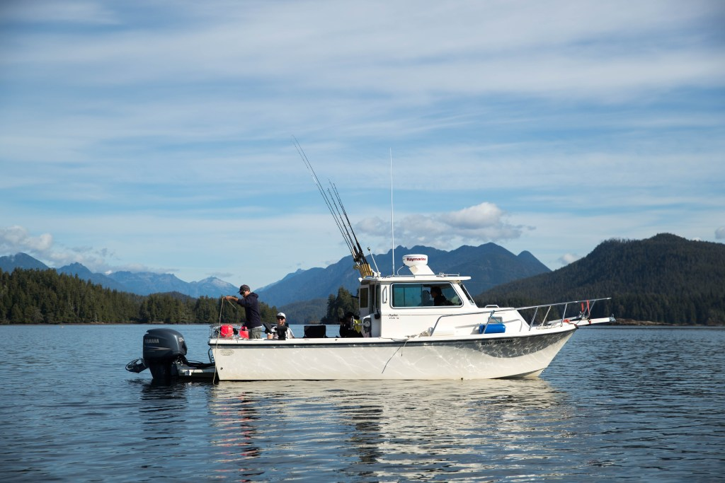 a Fishing Boat near Ucluelet, anglers setting up their gear