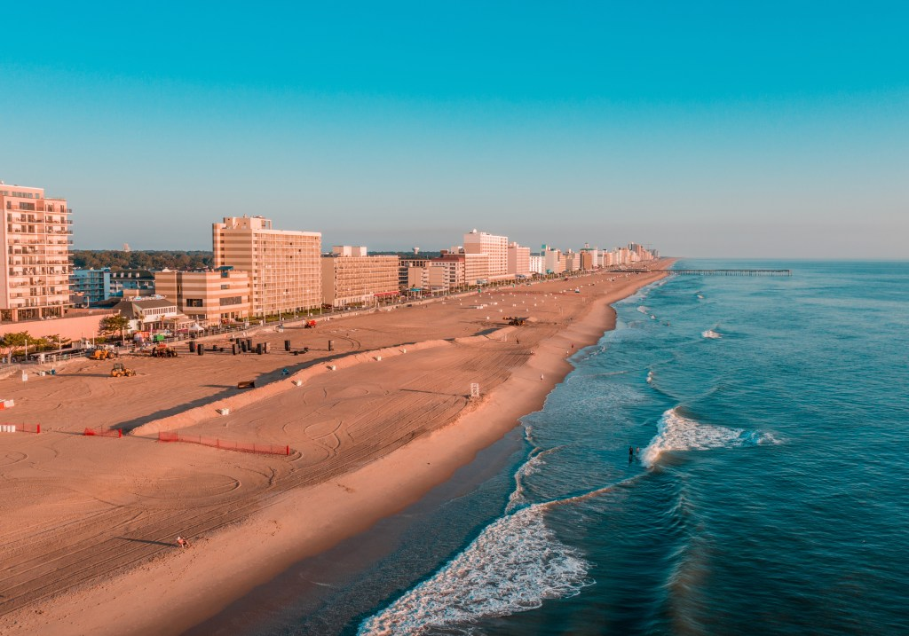 An aerial view of the Virginia Beach Oceanfront