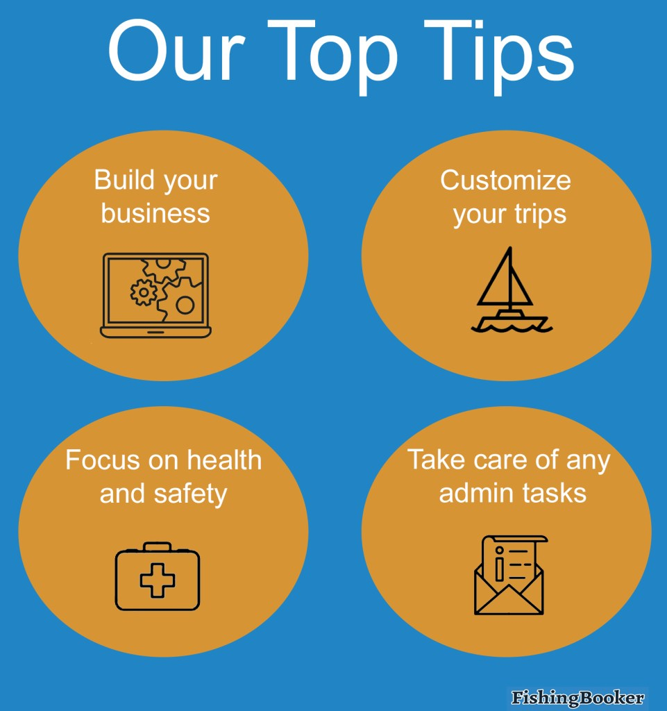 An infographic outlining our top tips for building business during and after Covid-19: build your business, customize your trips, focus on health and safety, and take care of any admin tasks