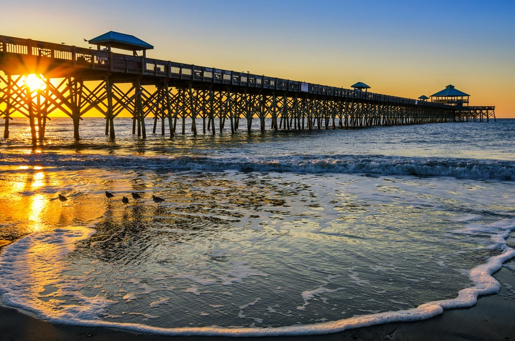 Folly Beach fishing pier at sunrise
