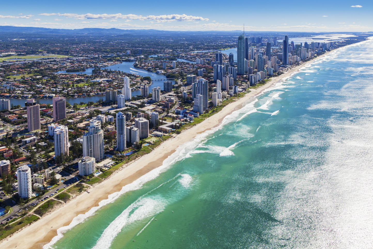 an areal view of Gold Coast