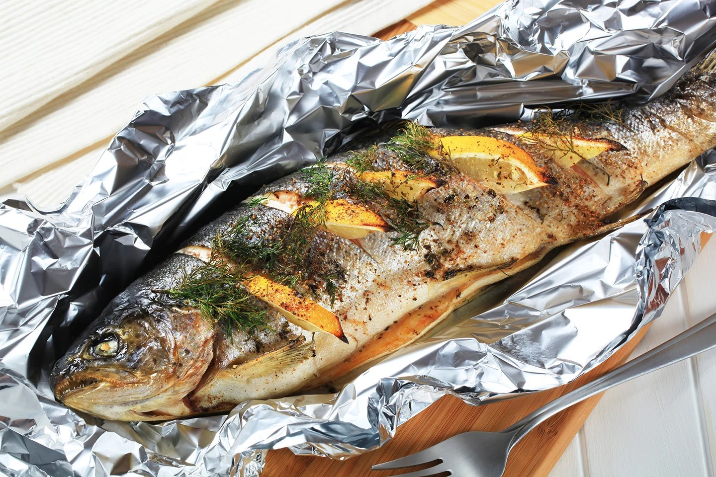 A whole trout baked in foil
