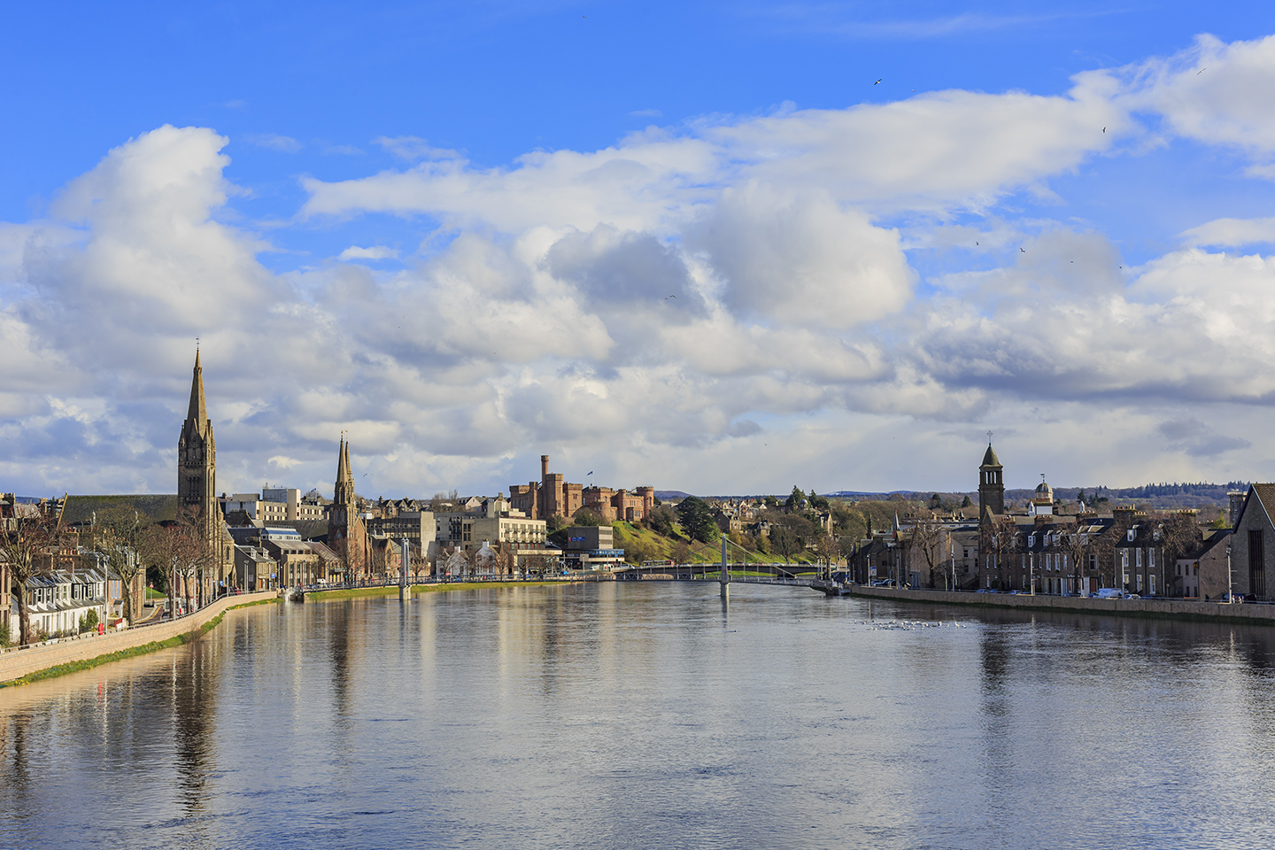 A view over the River Ness to Inverness, Scotland.