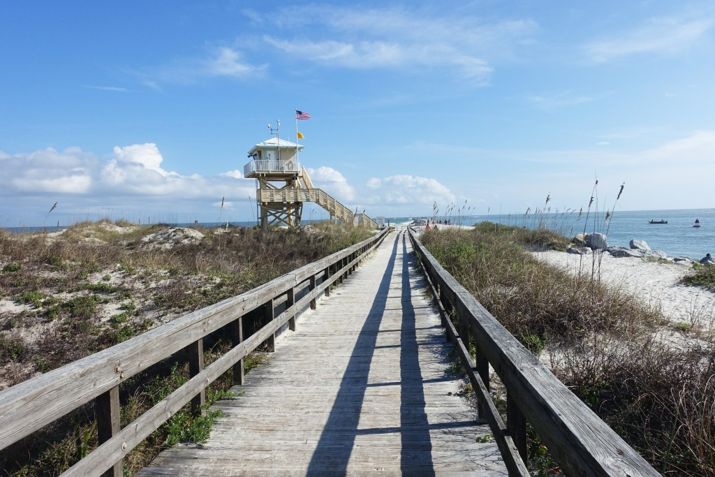 A view from the Ponce Inlet jetty onto the Ponce de Leon Inlet