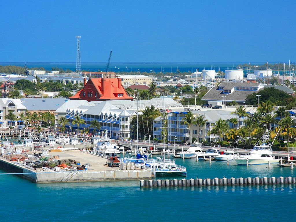 An image of Key West harbor from the sky