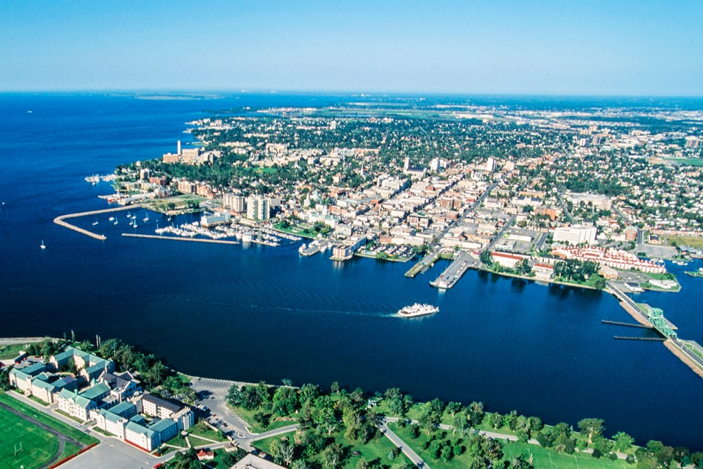 An aerial view of Kingston, Ontario