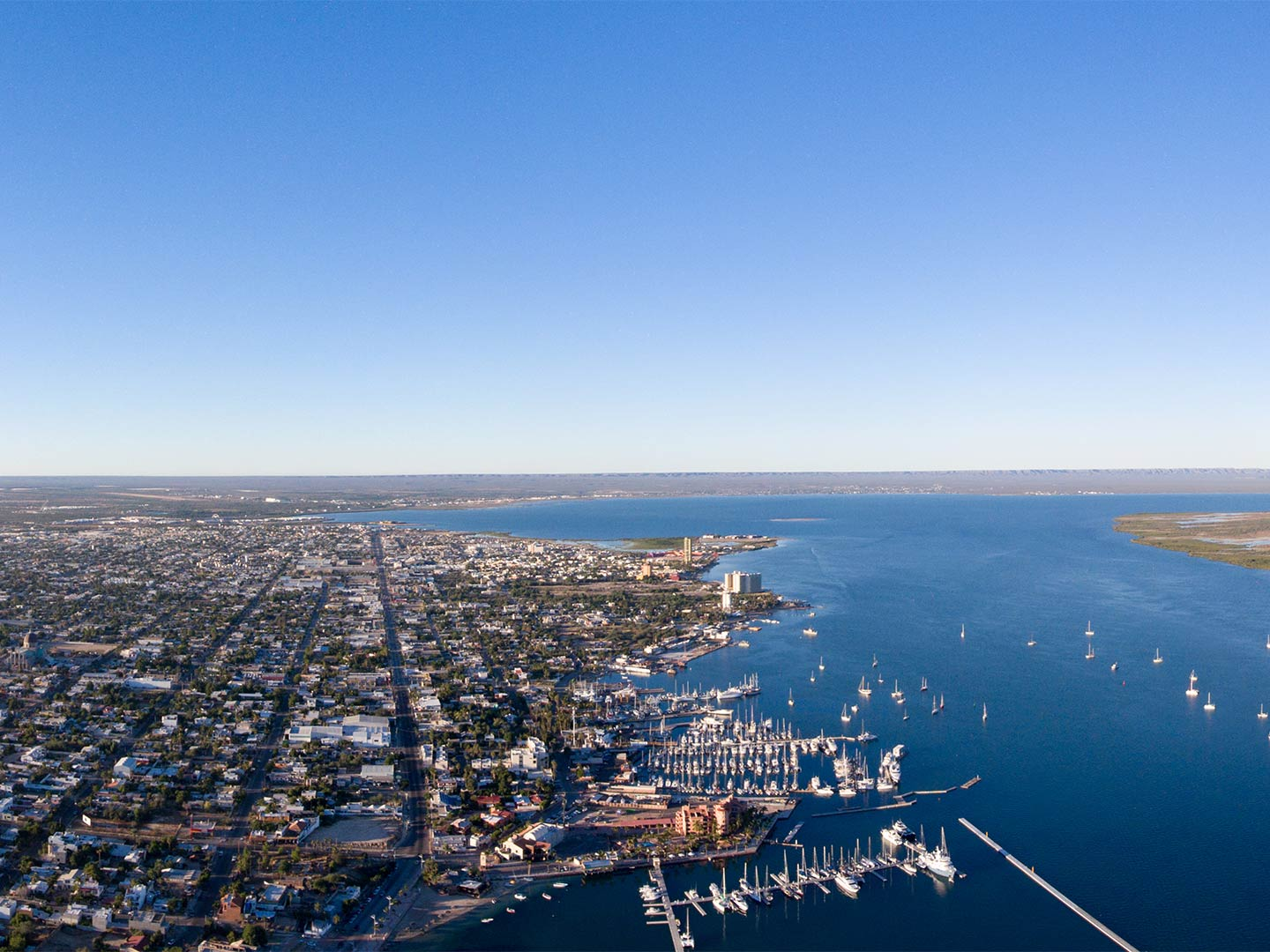 An aerial view of the city of La Paz and the bay in Baja California Sur