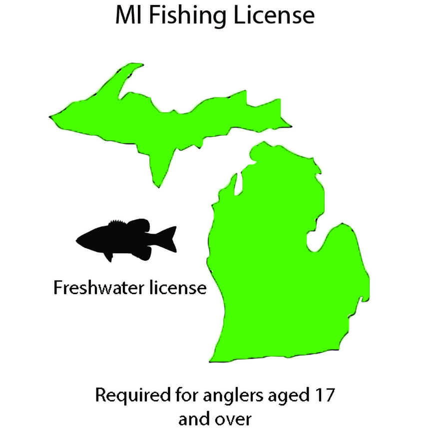 A graphic displaying the outline of the state of Michigan with text stating that a freshwater license is required for anglers over the age of 17.