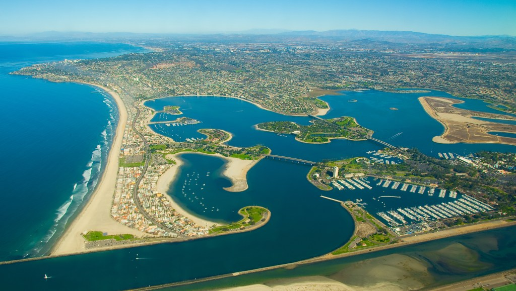 an aerial view of Mission Bay, San Diego