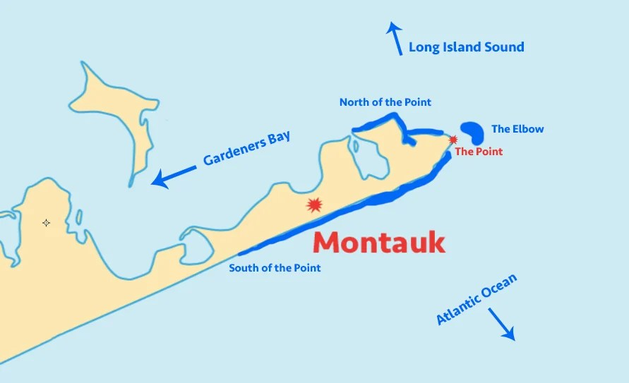 Map showing locations to fish around Montauk, New York