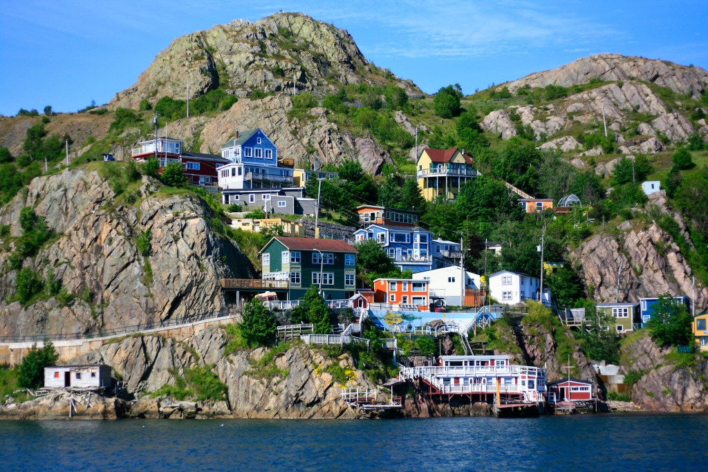 A view of colorful houses on the cliff, in St. John's, Newfoundland