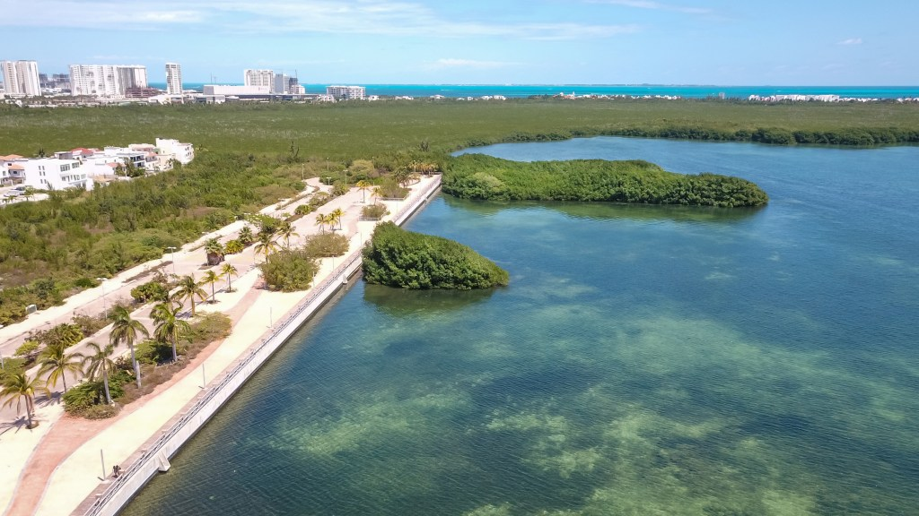 an aerial view of Nichupte Lagoon in Cancun, Mexico