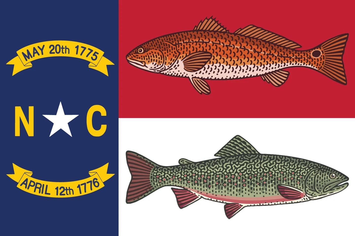 The North Carolina flag, with a Brook Trout and a Red Drum superimposed to show the two state fish
