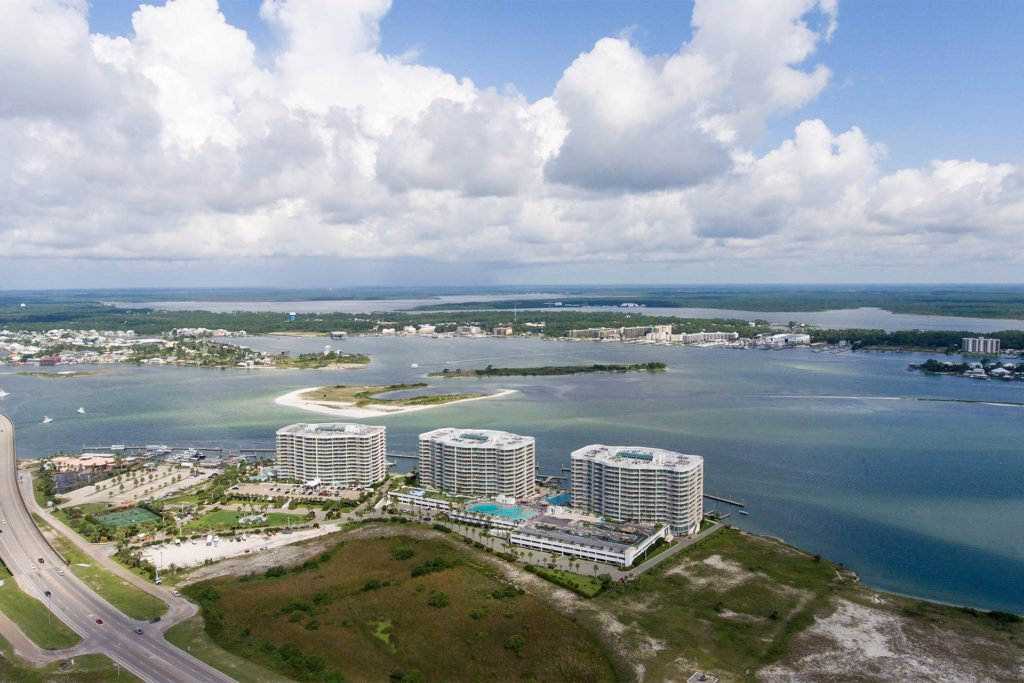 An aerial view of Orange Beach on an overcast day