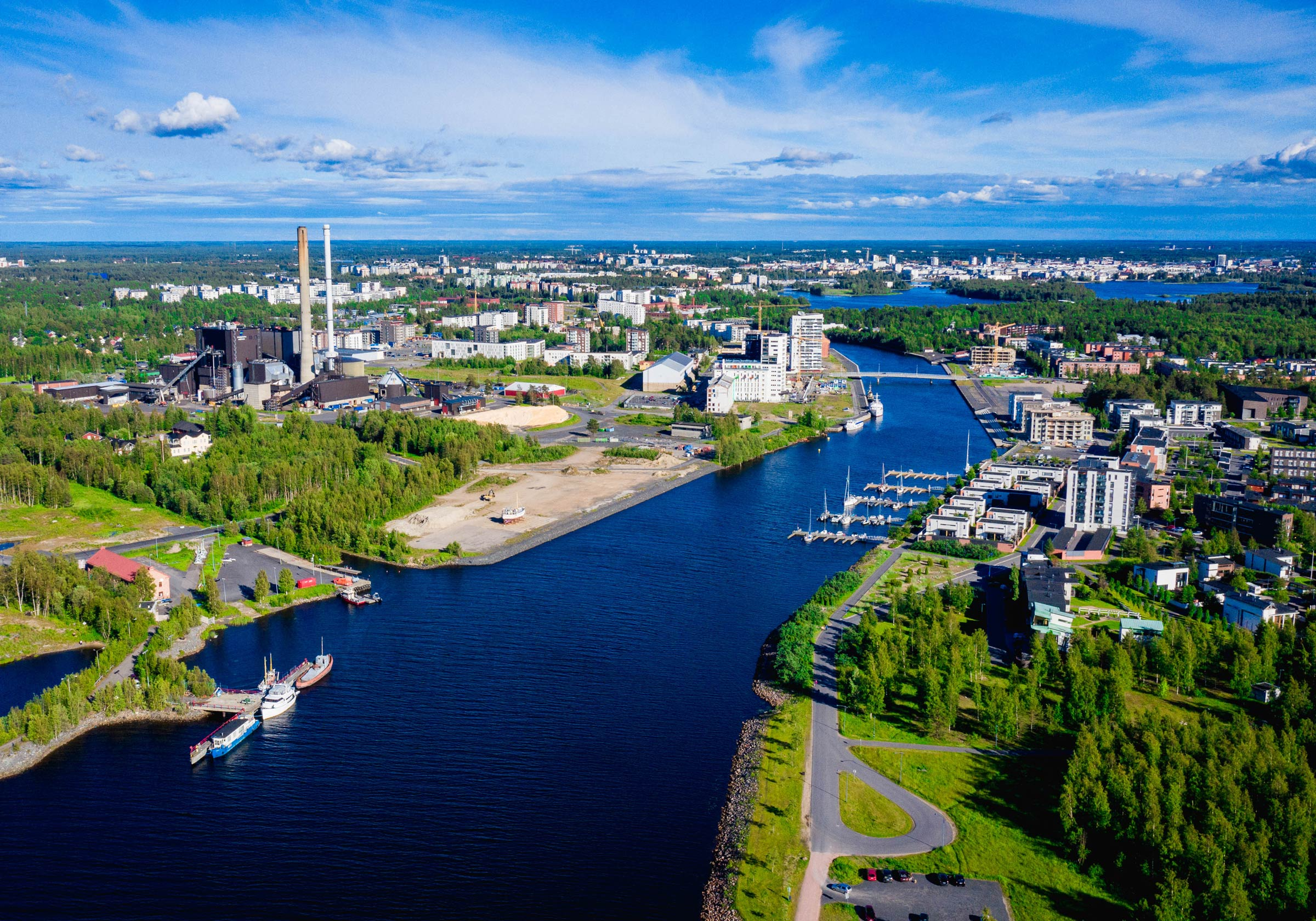 An aerial view of the city of Oulu in Finland