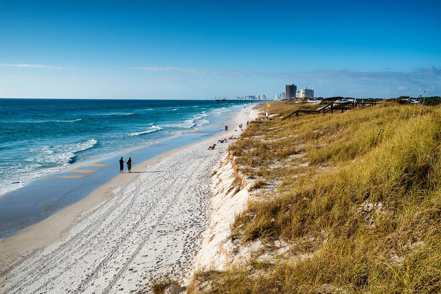 An view of the coastline looking towards downtown Panama City Beach