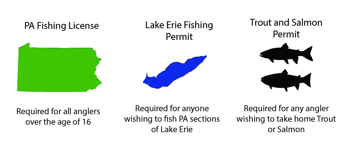 A graphic showing the different fishing licenses required in Pennsylvania, including a general state license for all anglers over the age of 16, a special permit for Lake Erie, and a separate permit for harvesting Trout and Salmon.