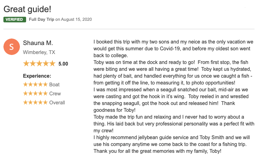 a review of a fishing experience an angler named Shauna had with her two sons and her neice.