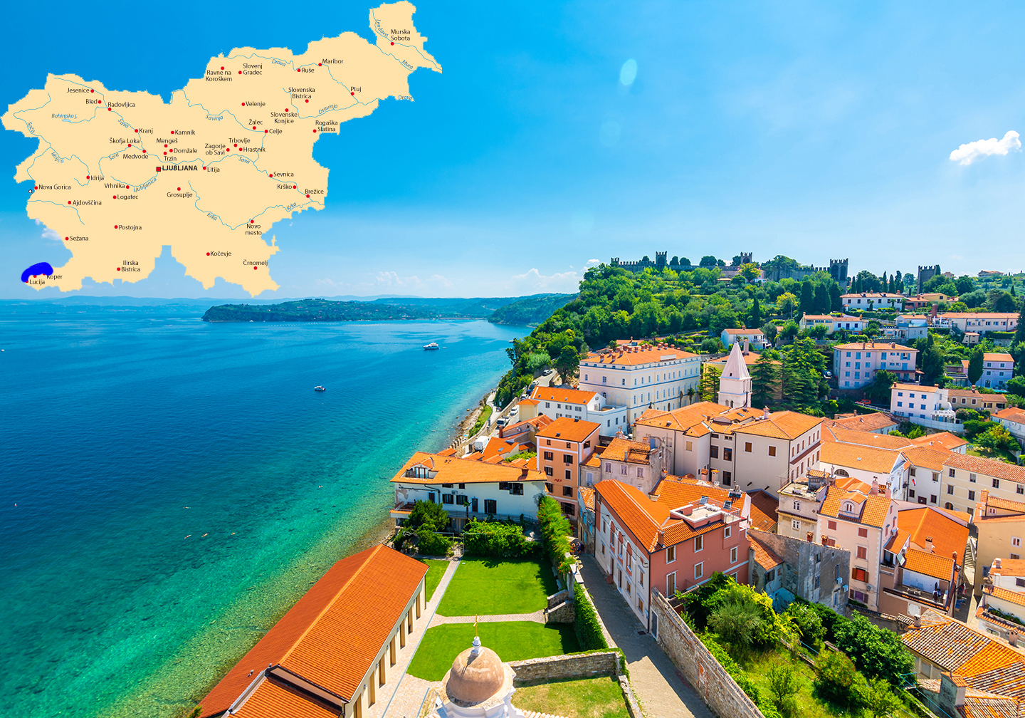 A view along Slovenia's Adriatic Coast, with red roofs, green sea, and blue sky. There is also a map at the top, showing where the scene is in Slovenia.