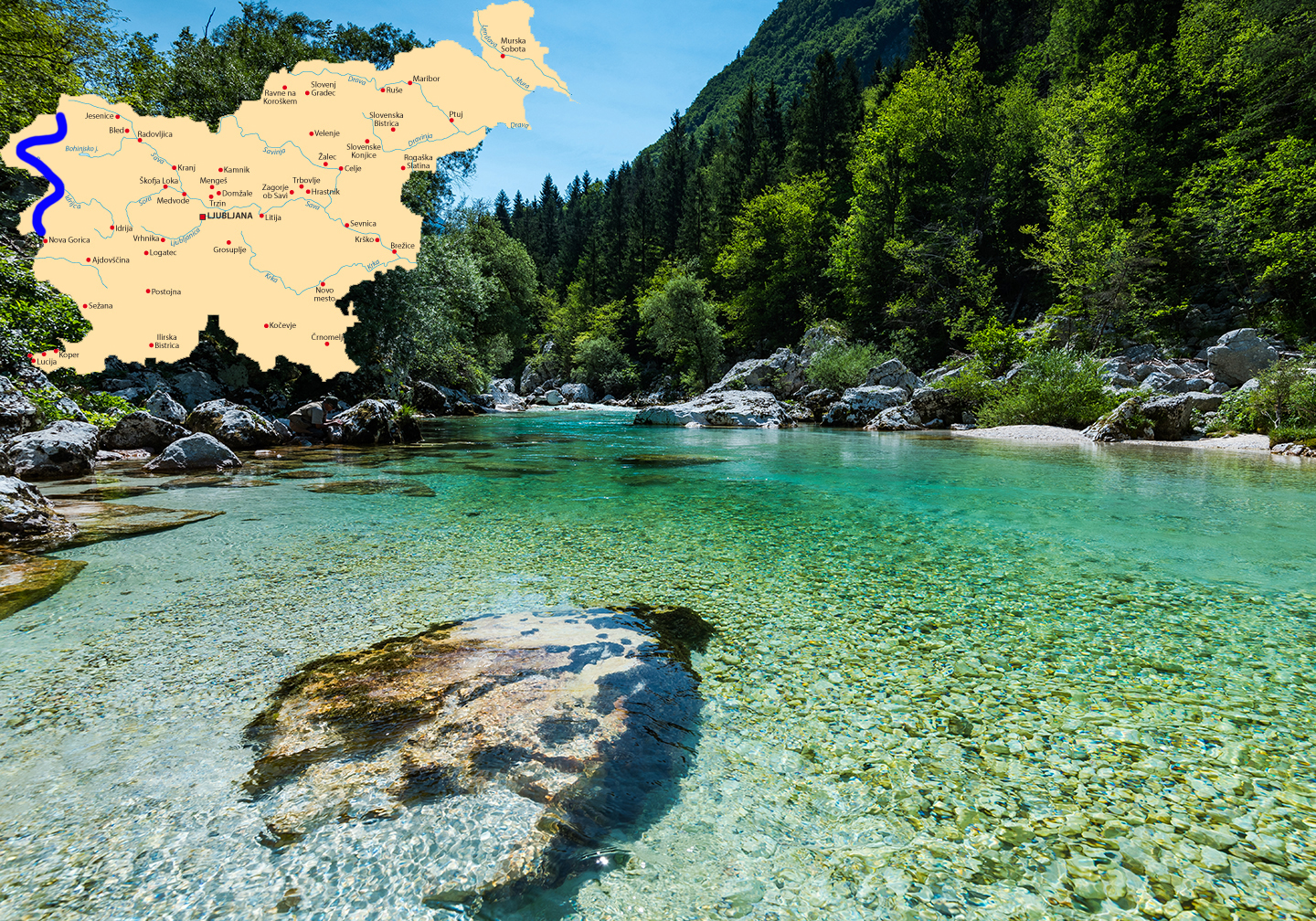A shallow section of the Soca River, one of the best rivers for fly fishing in Slovenia. There is a map of the country added on the left of the photo.