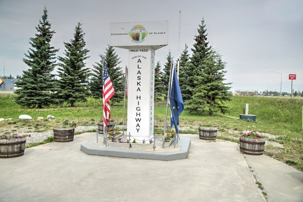 the end of the Alaska Highway monument in Delta Junction