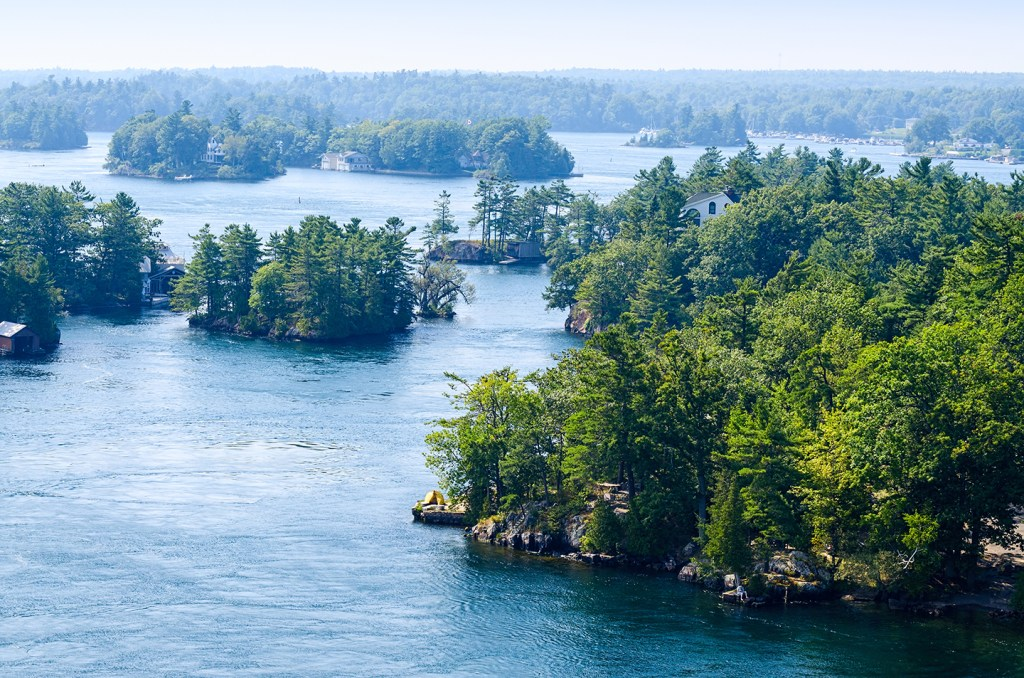 A view up the St Lawrence River of the Thousand Islands area of Ontario
