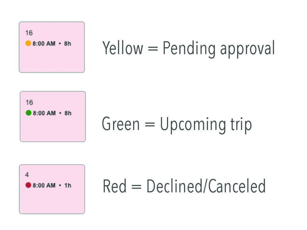 How bookings are color coded