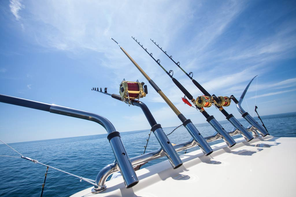 Trolling rods and reels set up for big game fishing.