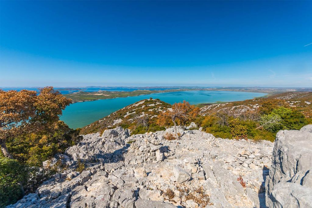 An aerial view from the hills overlooking Vransko Lake in Dalmatia