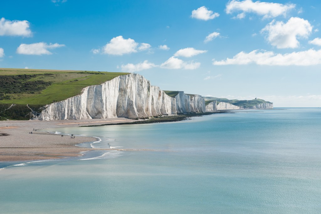 A view along the white cliffs of Dover in Kent