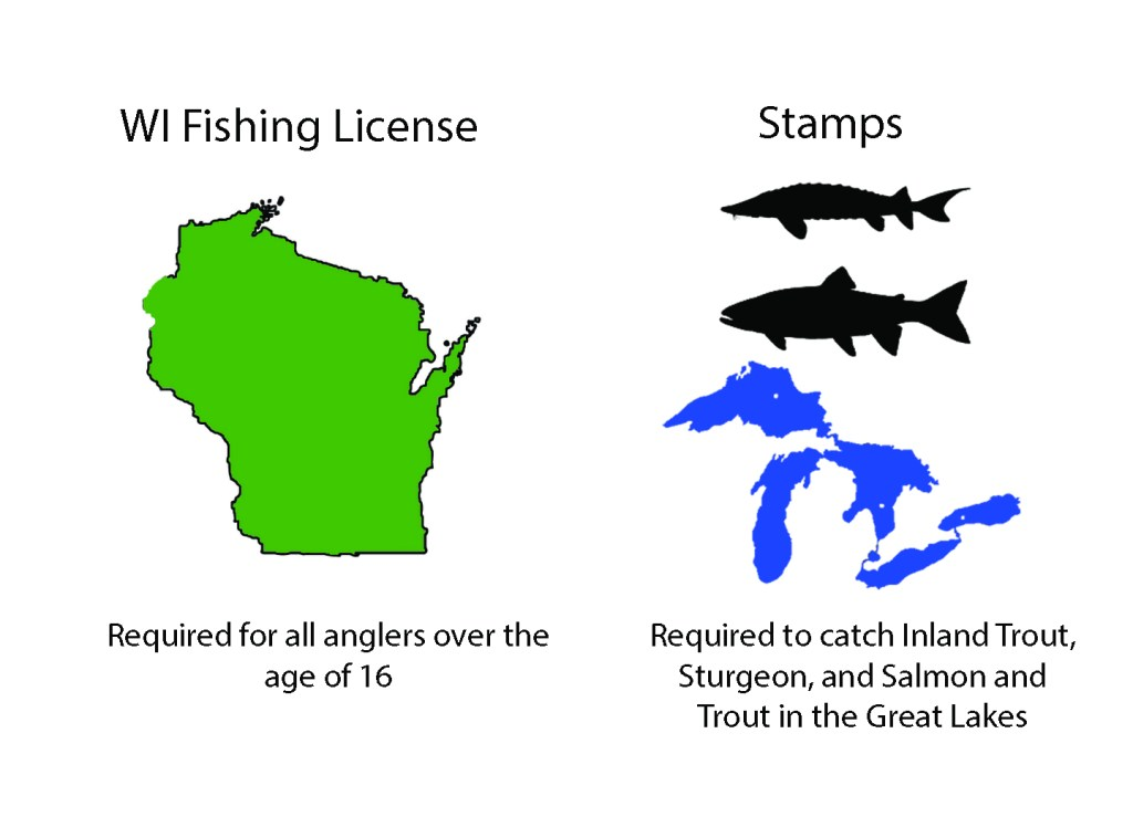 Graphic outlining the different licenses required for fishing in Wisconsin, including a map of the state and a description of the fish that require an additional stamp to harvest.