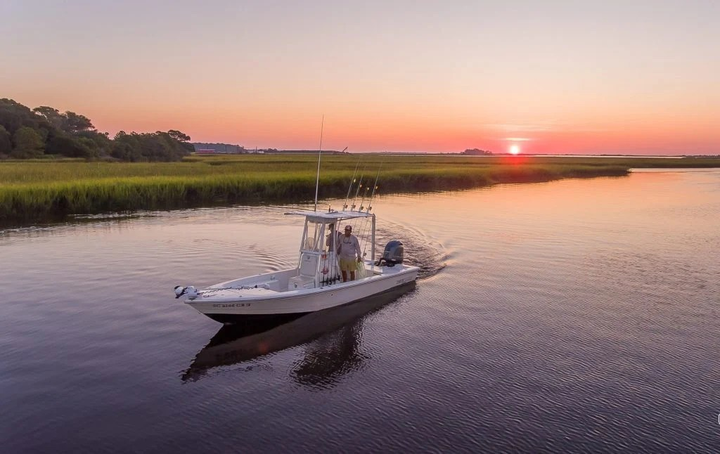a fishing boat near Myrtle Beach at sunset