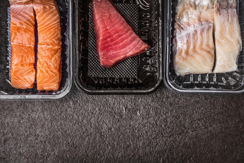 salmon, tuna and codfish packed
