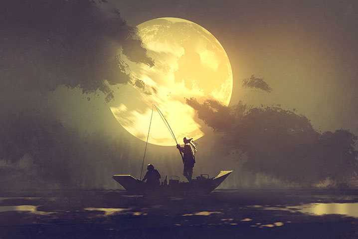A drawing of two anglers on a boat fishing during the Full Moon