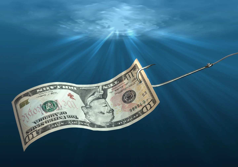 a dollar bill on a fishing hook