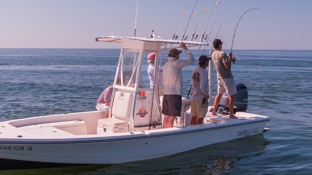 anglers on a fishing boat near Myrtle Beach