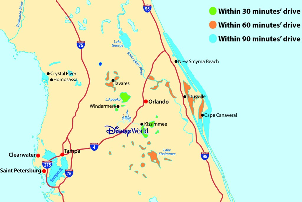 A map of the best places for fishing Disney World has access to. The map shows fishing spots which are 30, 60, and 90 minutes away. 30-minute spots are marked in green, 60-minute spots are marked in orange, 90 minute spots are marked in dark blue.