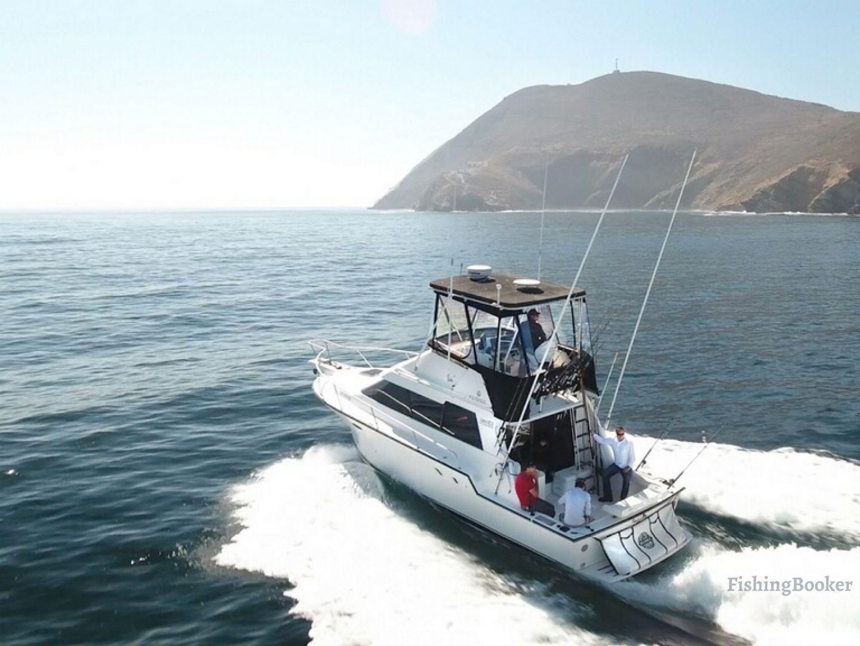 a flybridge sportfishing boat