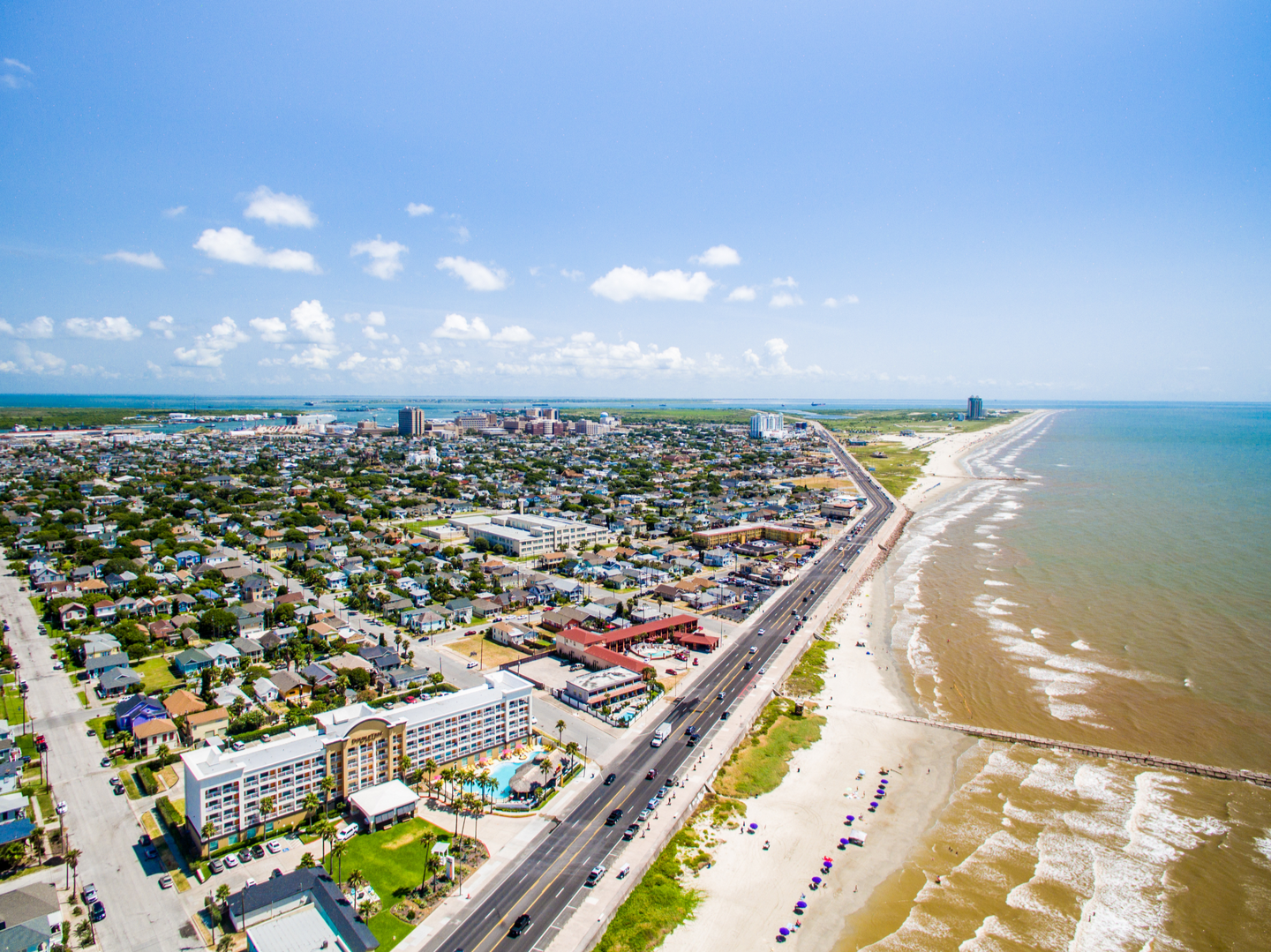 an areal view of Galveston, Texas