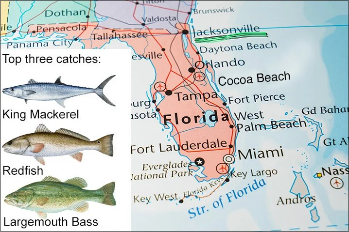 Map of Florida showing Jacksonville and top three fish species to catch there