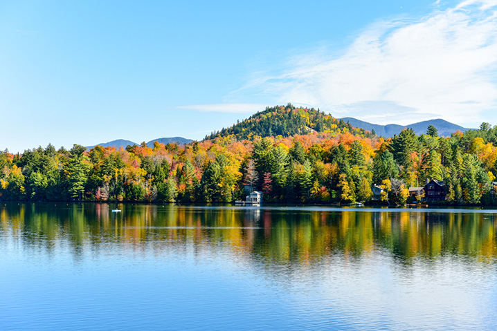 View of the autumn foliage on Lake Placid