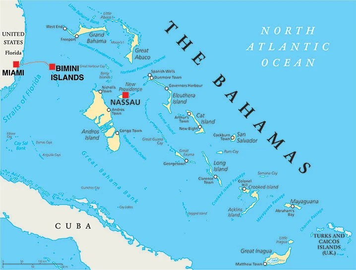 Map of Bahamas showing how to travel from Florida to Bahamas by boat
