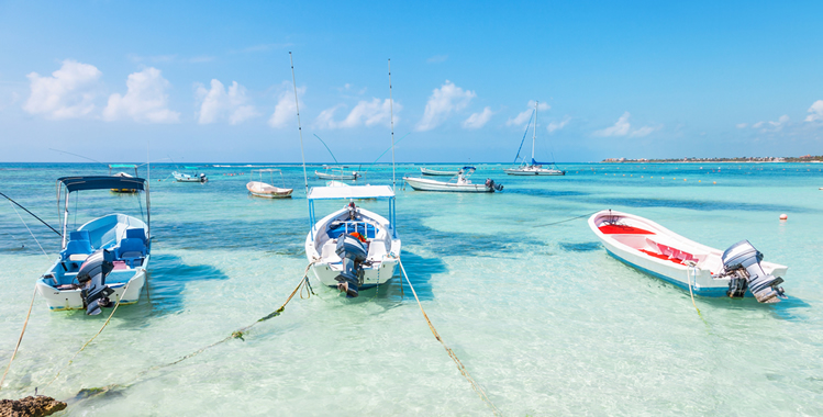 Fishing boats on the coast of the riviera Maya