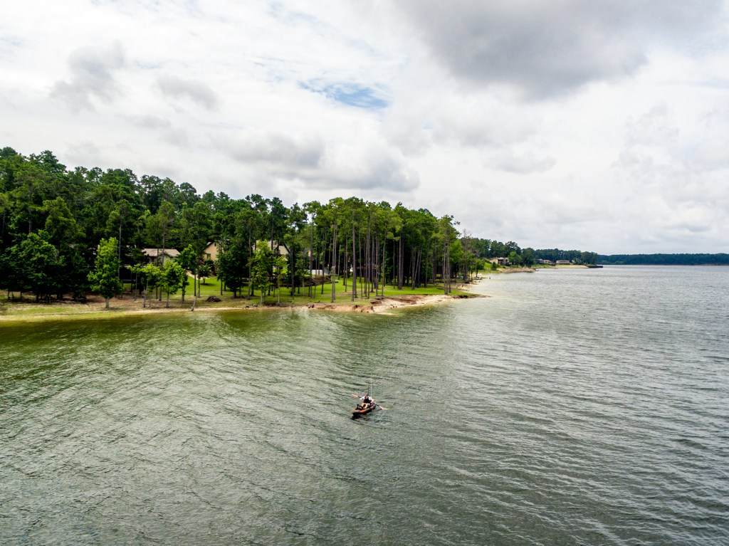 A view of a fishing kayak on Sam Rayburn, Texas