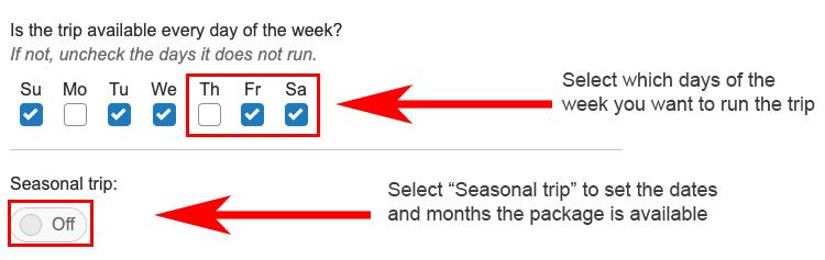 Annotated screenshot showing how to set a seasonal trip
