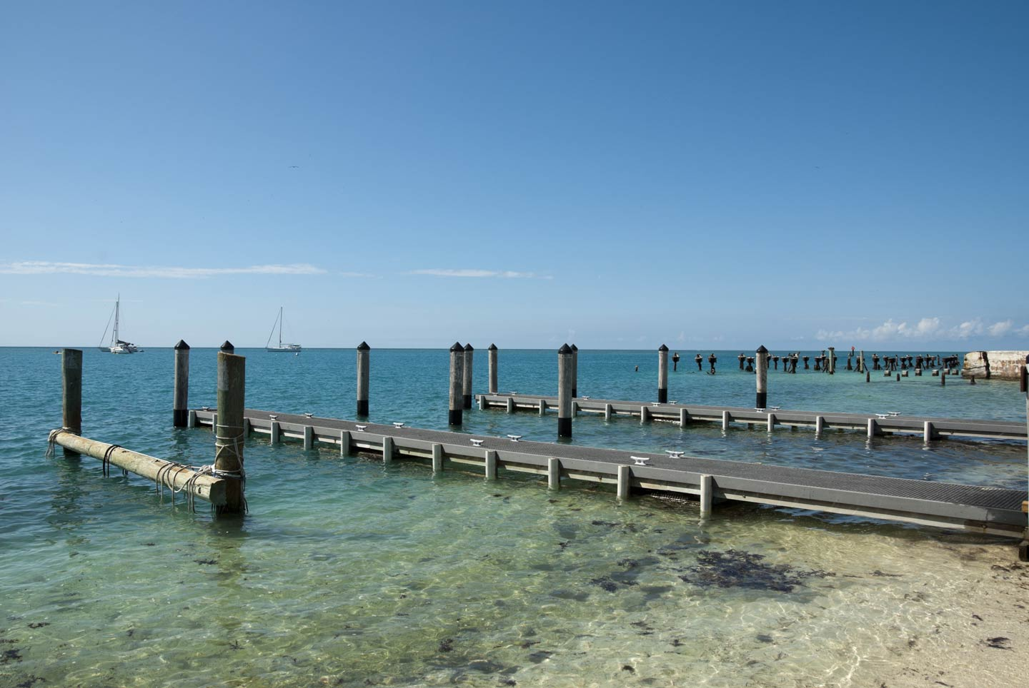The docks (finger piers) in Dry Tortugas