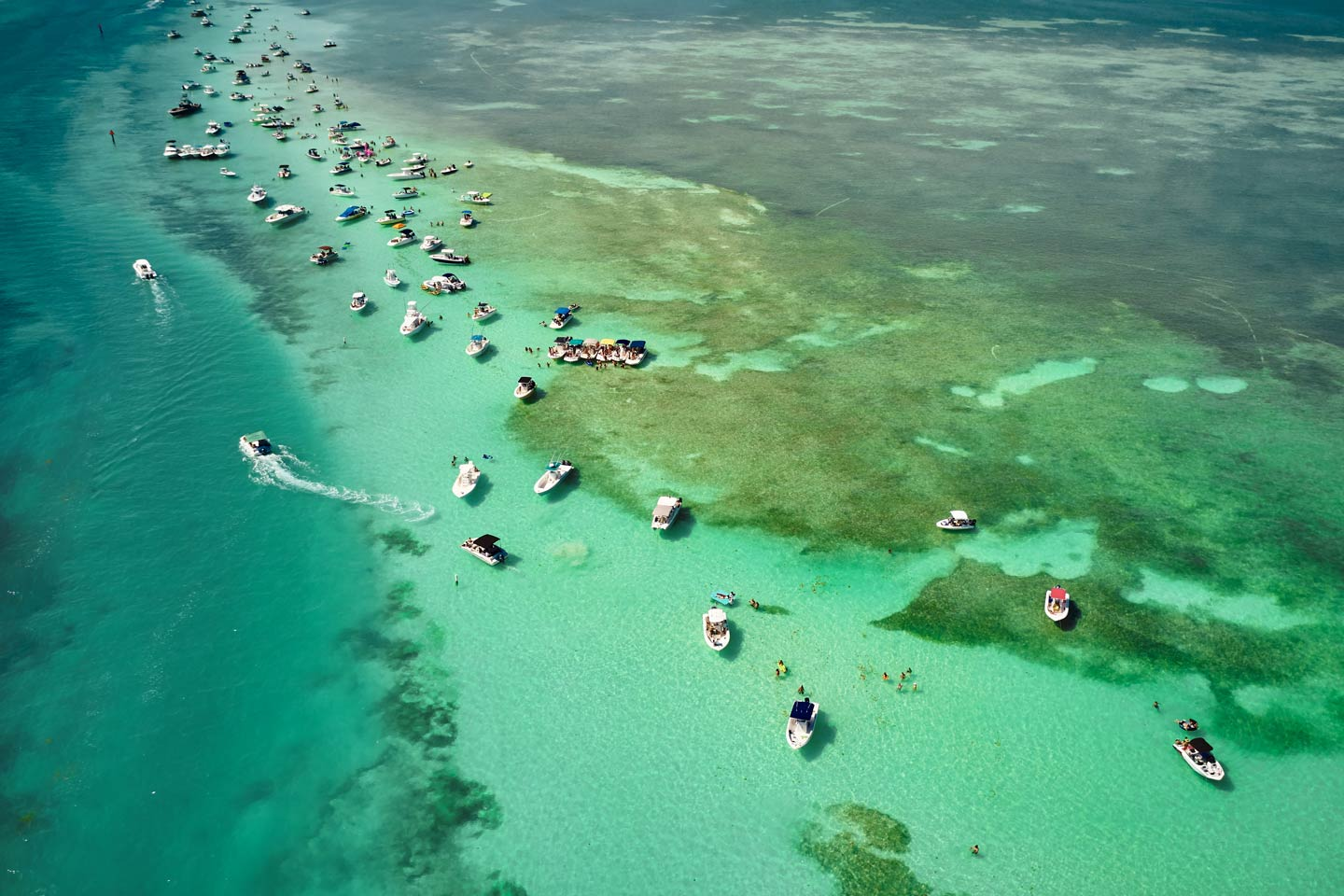 Boats on the sandbar in the Florida Keys in South Florida